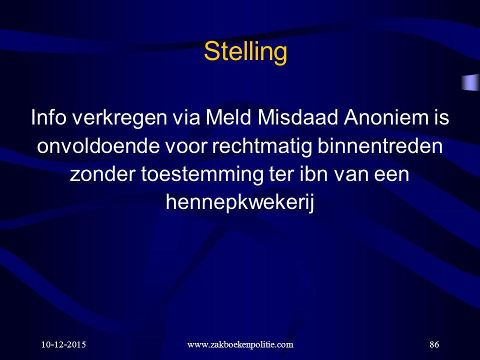 Stelling Info verkregen via Meld Misdaad Anoniem is