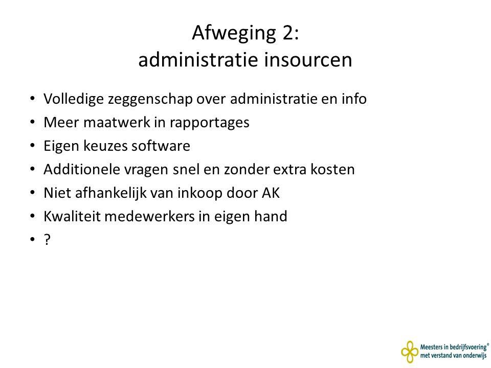 Afweging 2: administratie insourcen