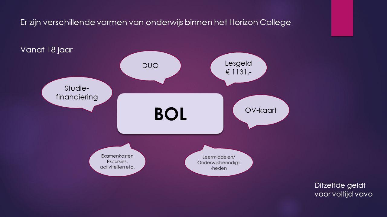 Er zijn verschillende vormen van onderwijs binnen het Horizon College Vanaf 18 jaar