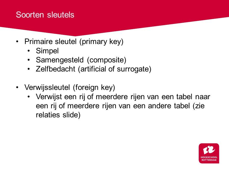 Soorten sleutels Primaire sleutel (primary key) Simpel
