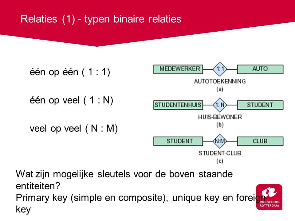 Relaties (1) - typen binaire relaties