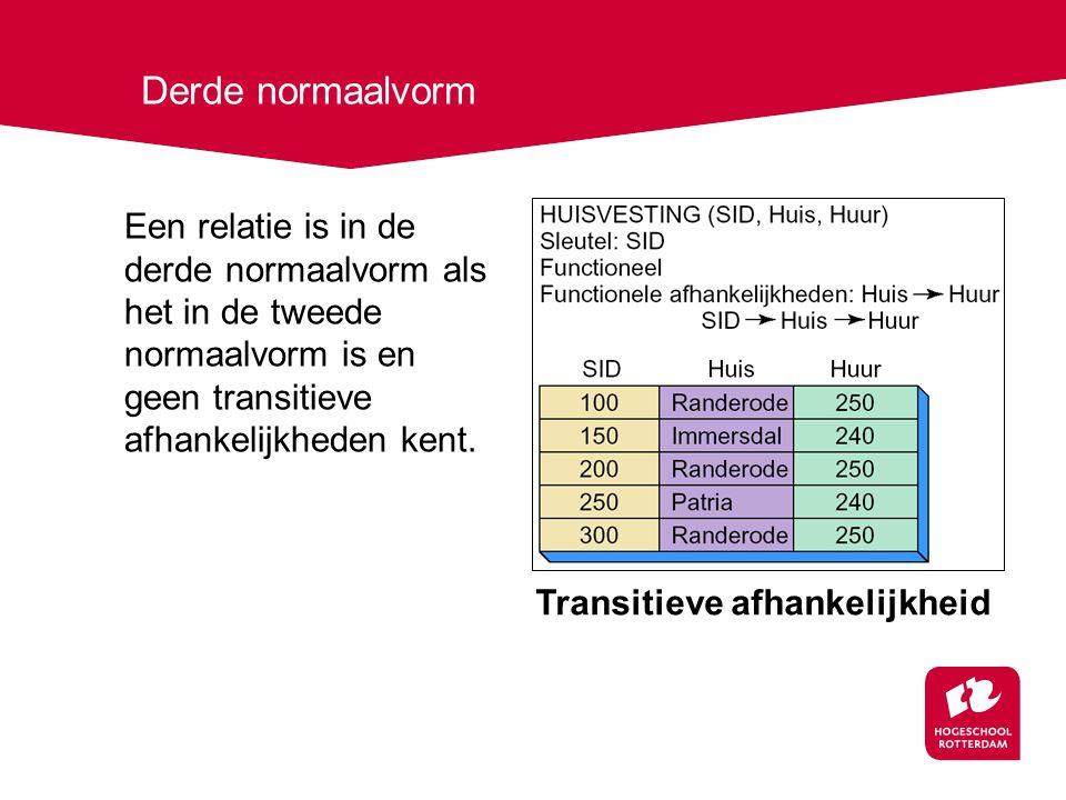 Derde normaalvorm Een relatie is in de derde normaalvorm als het in de tweede normaalvorm is en geen transitieve afhankelijkheden kent.