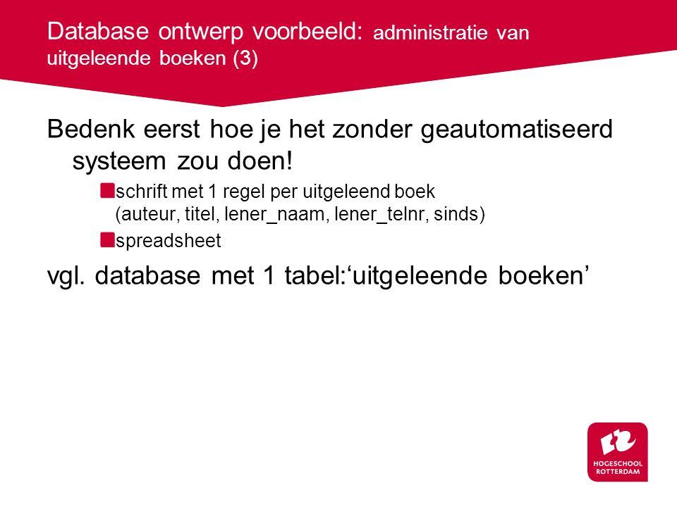 Database ontwerp voorbeeld: administratie van uitgeleende boeken (3)