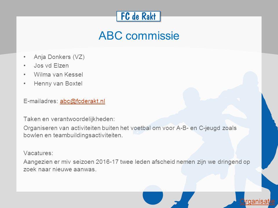 ABC commissie Organisatie Anja Donkers (VZ) Jos vd Elzen