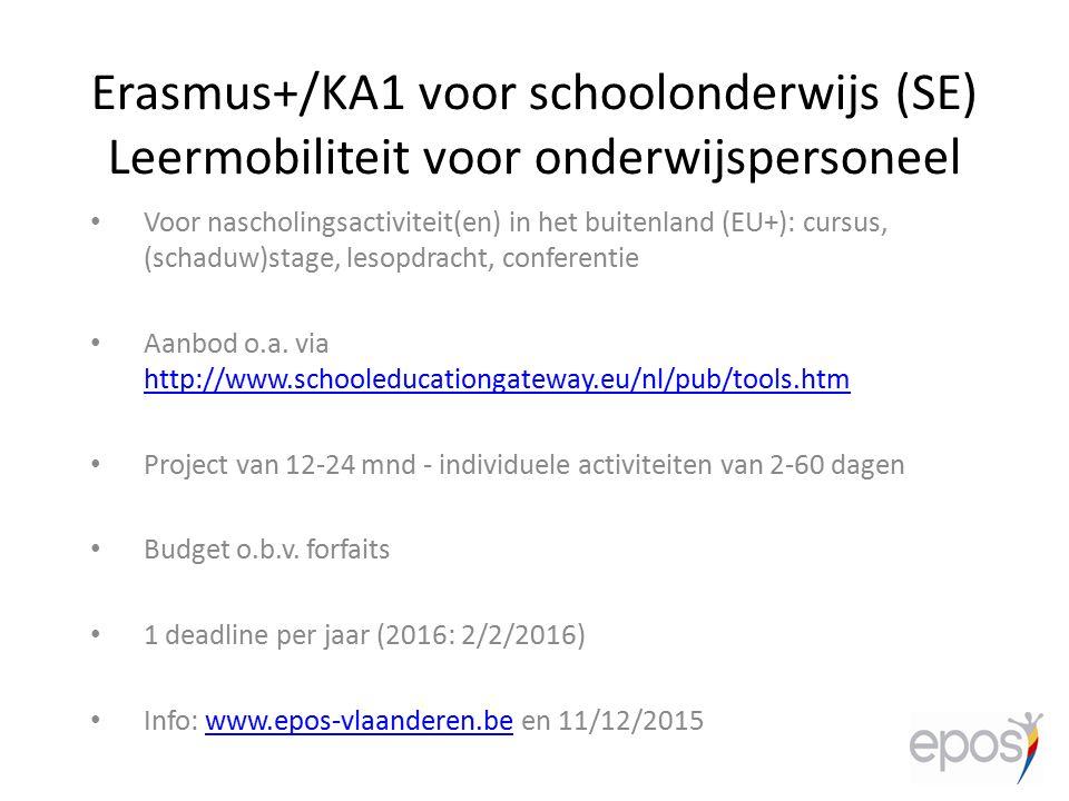 Erasmus+/KA1 voor schoolonderwijs (SE) Leermobiliteit voor onderwijspersoneel
