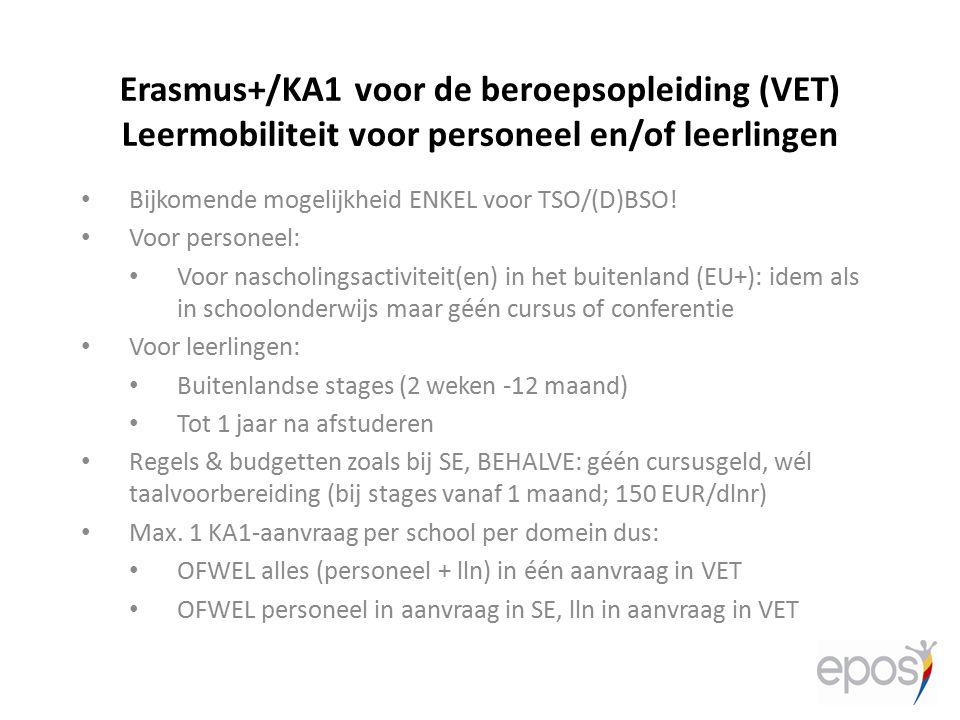 Erasmus+/KA1 voor de beroepsopleiding (VET) Leermobiliteit voor personeel en/of leerlingen