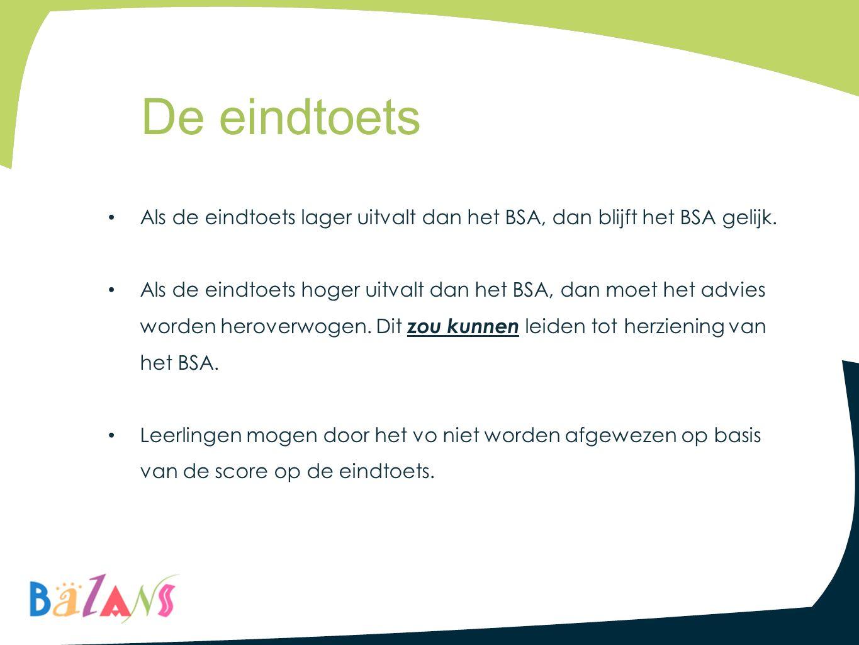 De eindtoets Als de eindtoets lager uitvalt dan het BSA, dan blijft het BSA gelijk.