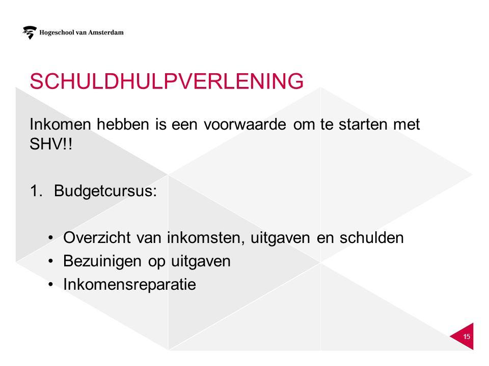 schuldhulpverlening Inkomen hebben is een voorwaarde om te starten met SHV!! Budgetcursus: Overzicht van inkomsten, uitgaven en schulden.
