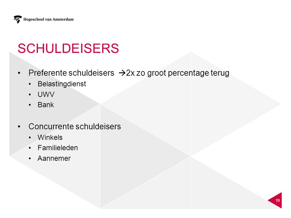 Schuldeisers Preferente schuldeisers 2x zo groot percentage terug