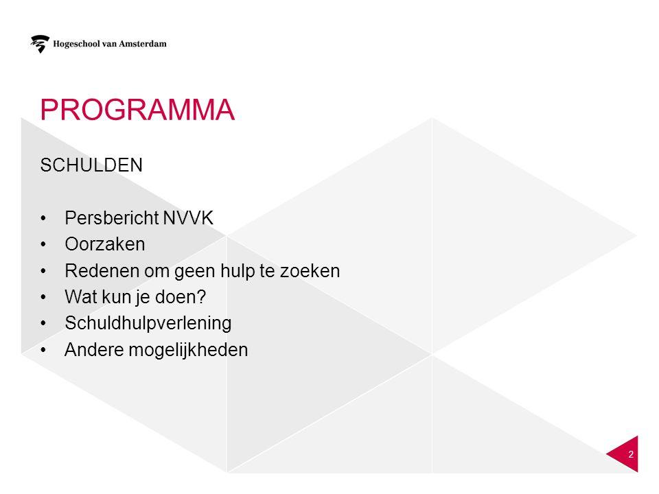 Programma SCHULDEN Persbericht NVVK Oorzaken