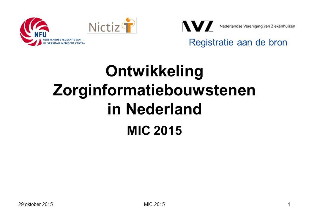 Ontwikkeling Zorginformatiebouwstenen in Nederland