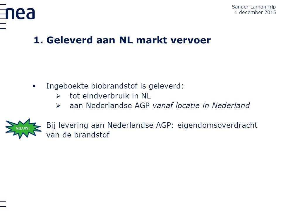 1. Geleverd aan NL markt vervoer