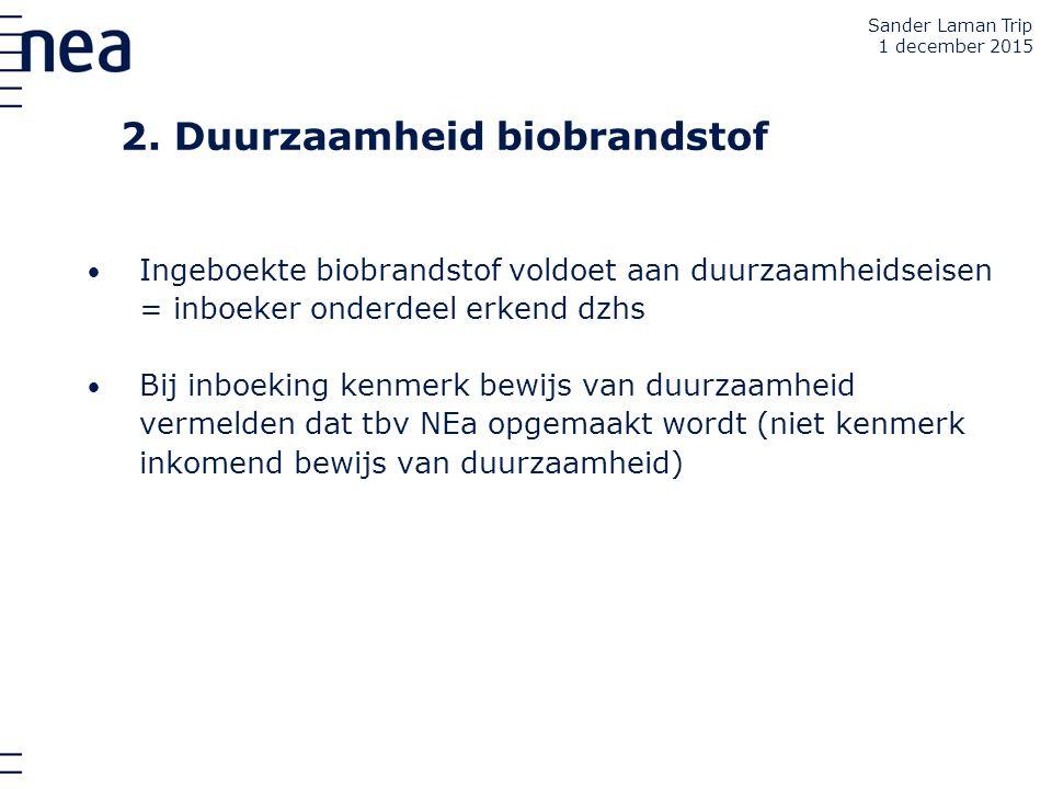 2. Duurzaamheid biobrandstof