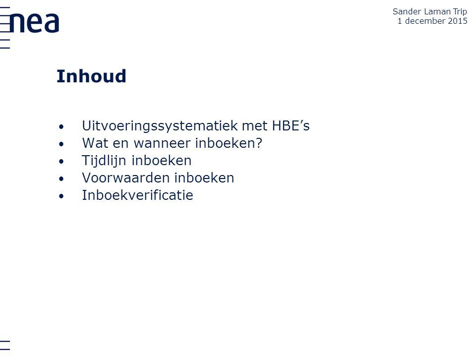 Inhoud Uitvoeringssystematiek met HBE's Wat en wanneer inboeken