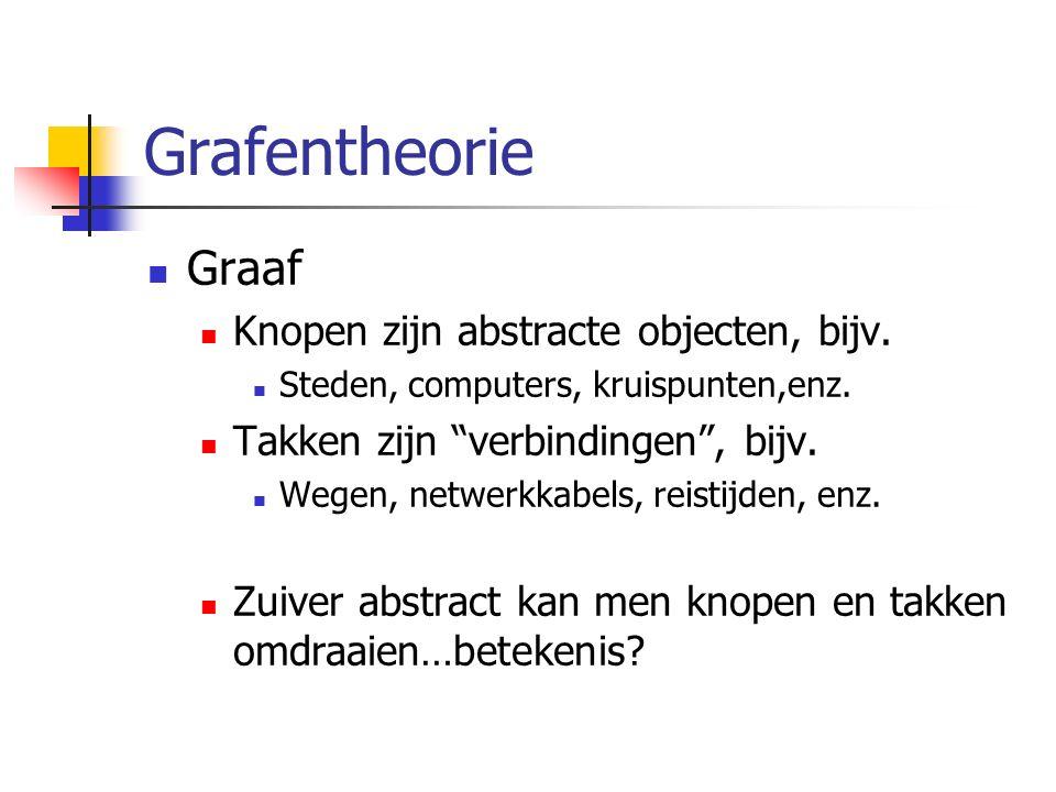 Grafentheorie Graaf Knopen zijn abstracte objecten, bijv.