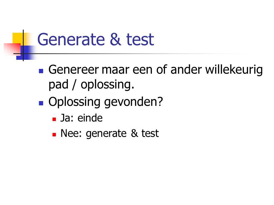 Generate & test Genereer maar een of ander willekeurig pad / oplossing. Oplossing gevonden Ja: einde.