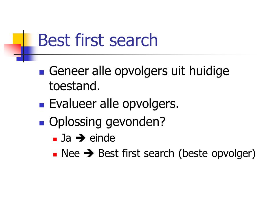 Best first search Geneer alle opvolgers uit huidige toestand.