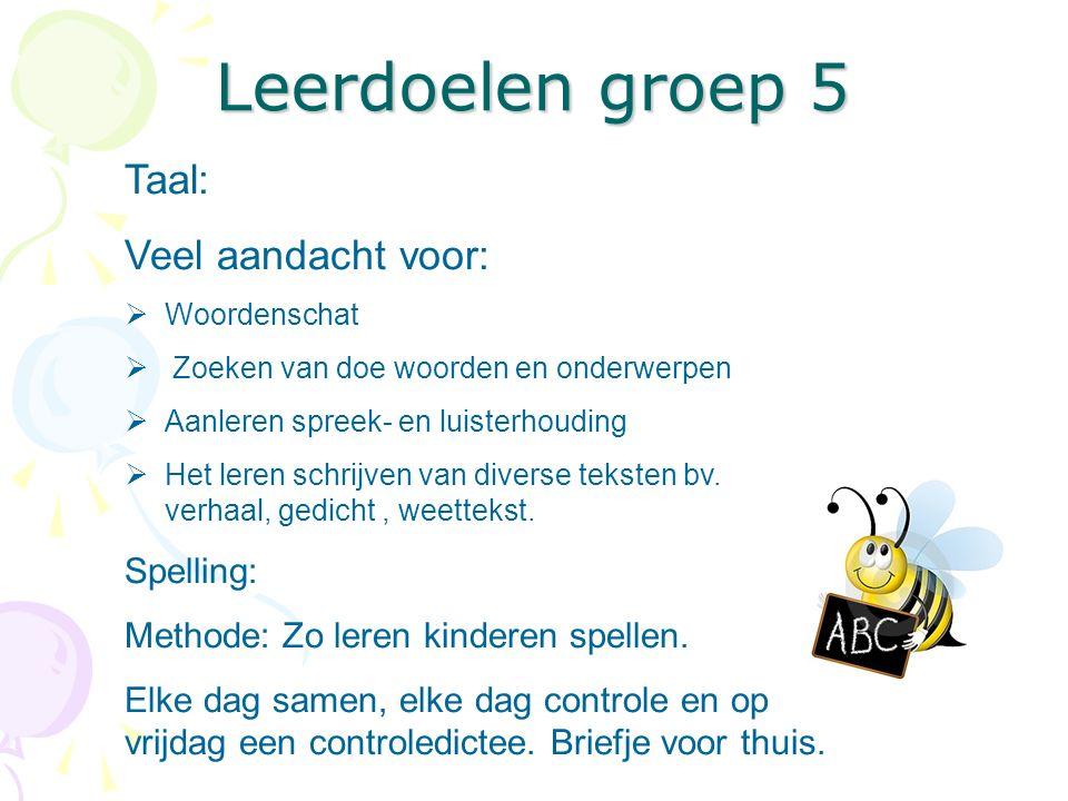 Leerdoelen groep 5 Taal: Veel aandacht voor: Spelling: