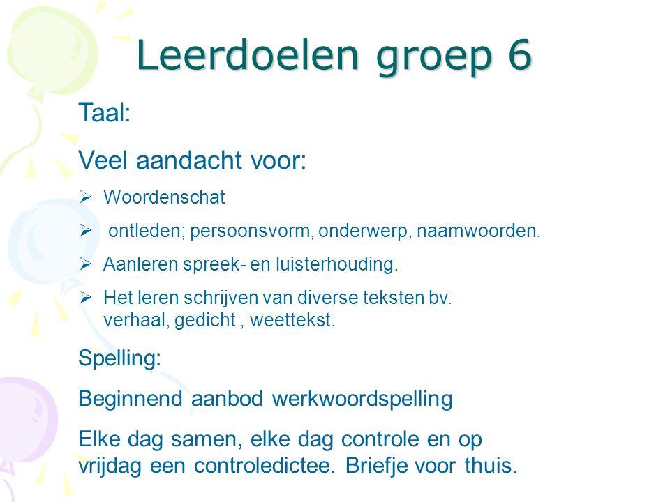 Leerdoelen groep 6 Taal: Veel aandacht voor: Spelling: