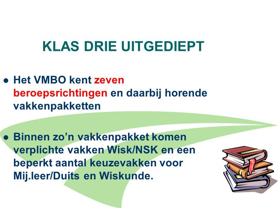 KLAS DRIE UITGEDIEPT Het VMBO kent zeven beroepsrichtingen en daarbij horende vakkenpakketten.