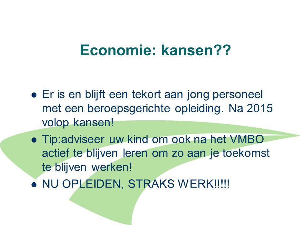 Economie: kansen Er is en blijft een tekort aan jong personeel met een beroepsgerichte opleiding. Na 2015 volop kansen!