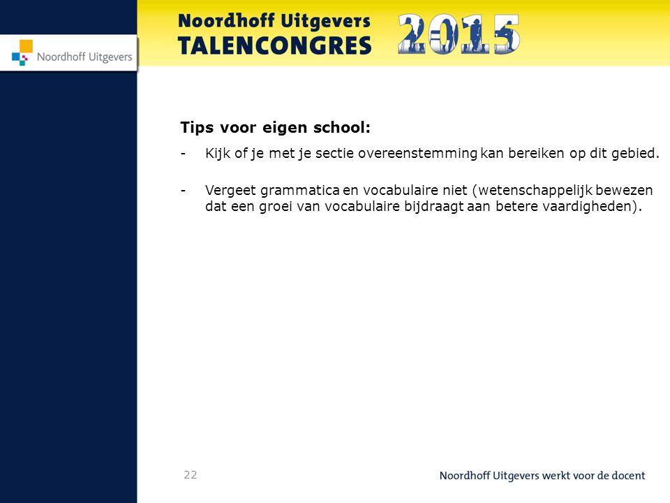 Tips voor eigen school: