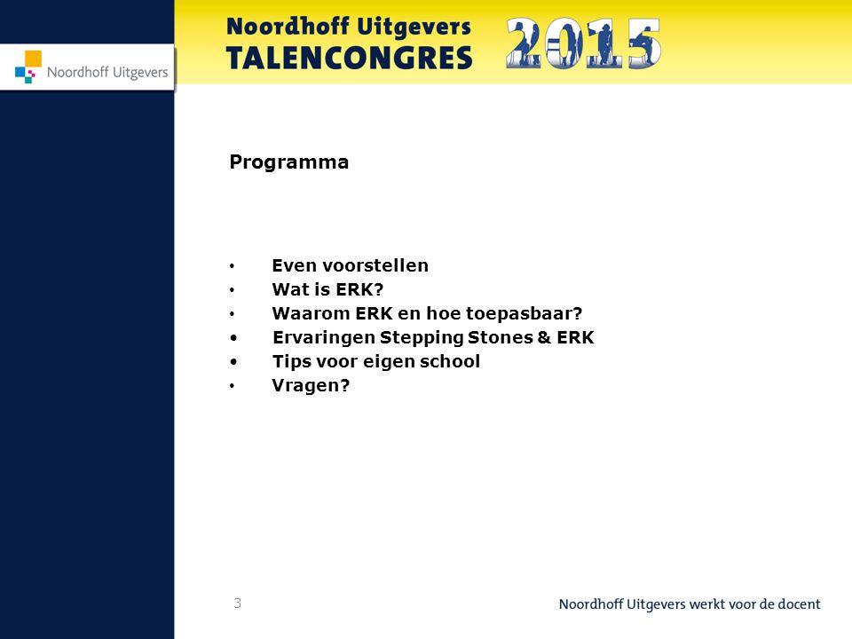 Programma Even voorstellen Wat is ERK Waarom ERK en hoe toepasbaar