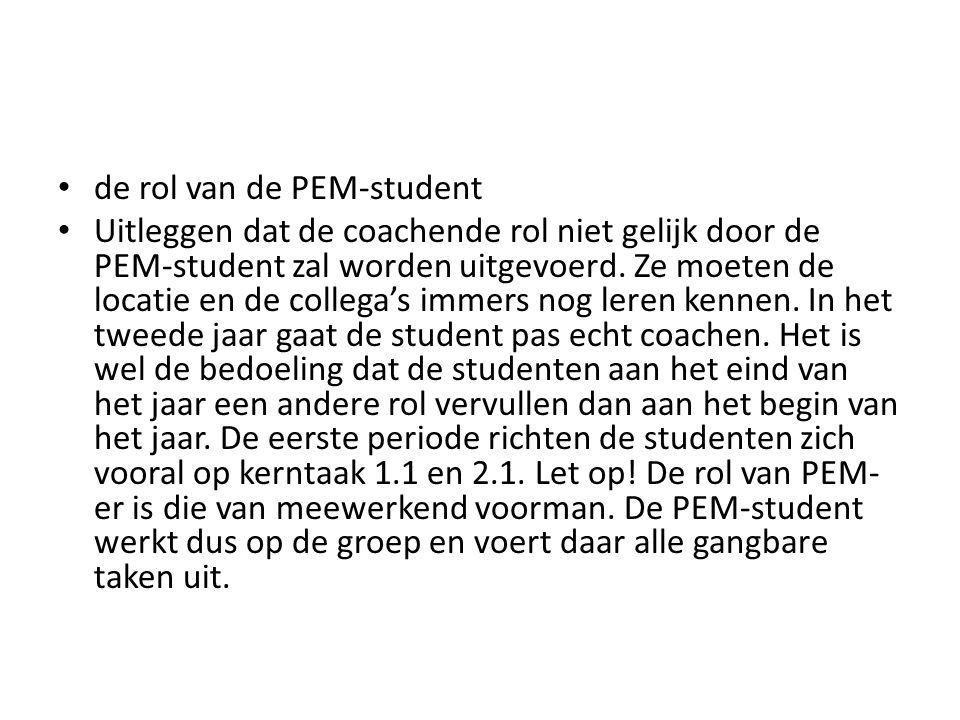 de rol van de PEM-student