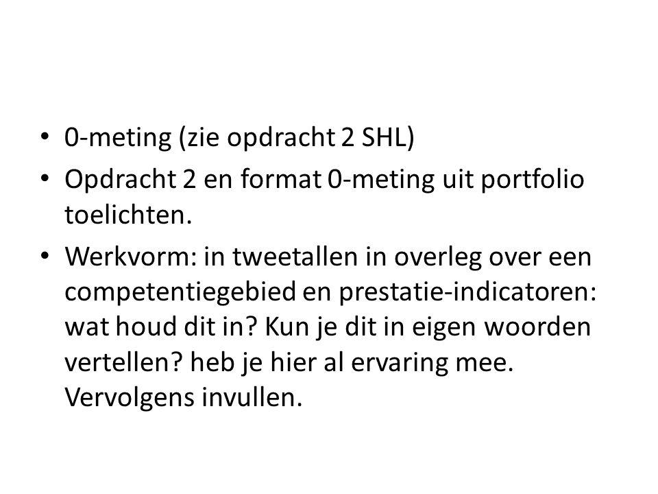 0-meting (zie opdracht 2 SHL)