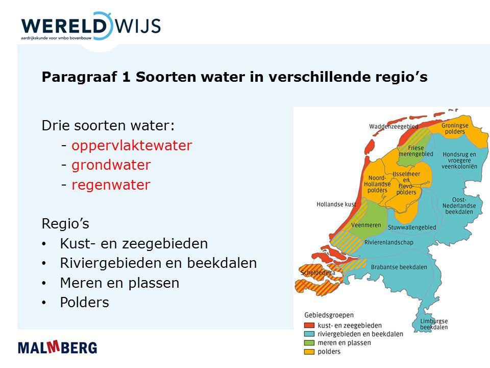 Paragraaf 1 Soorten water in verschillende regio's