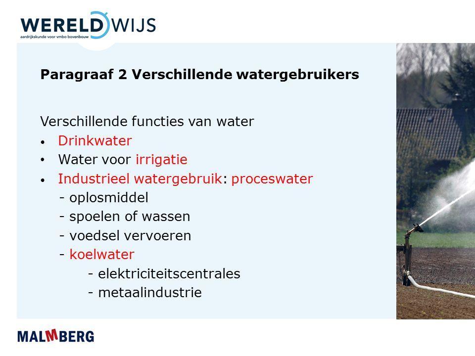 Paragraaf 2 Verschillende watergebruikers