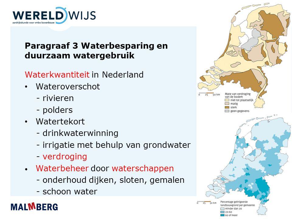 Paragraaf 3 Waterbesparing en duurzaam watergebruik