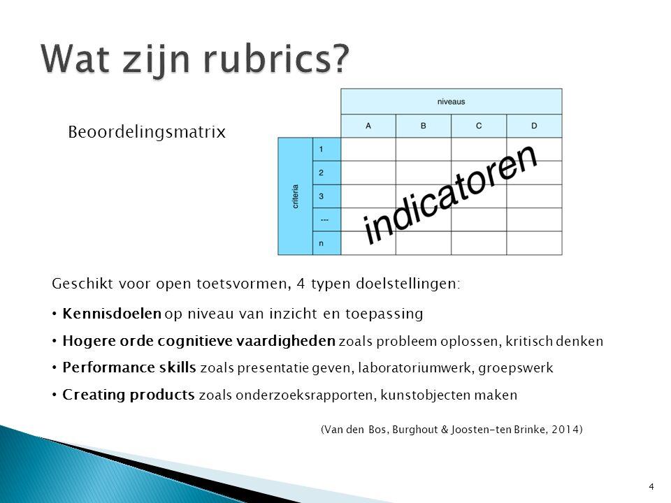Wat zijn rubrics Beoordelingsmatrix