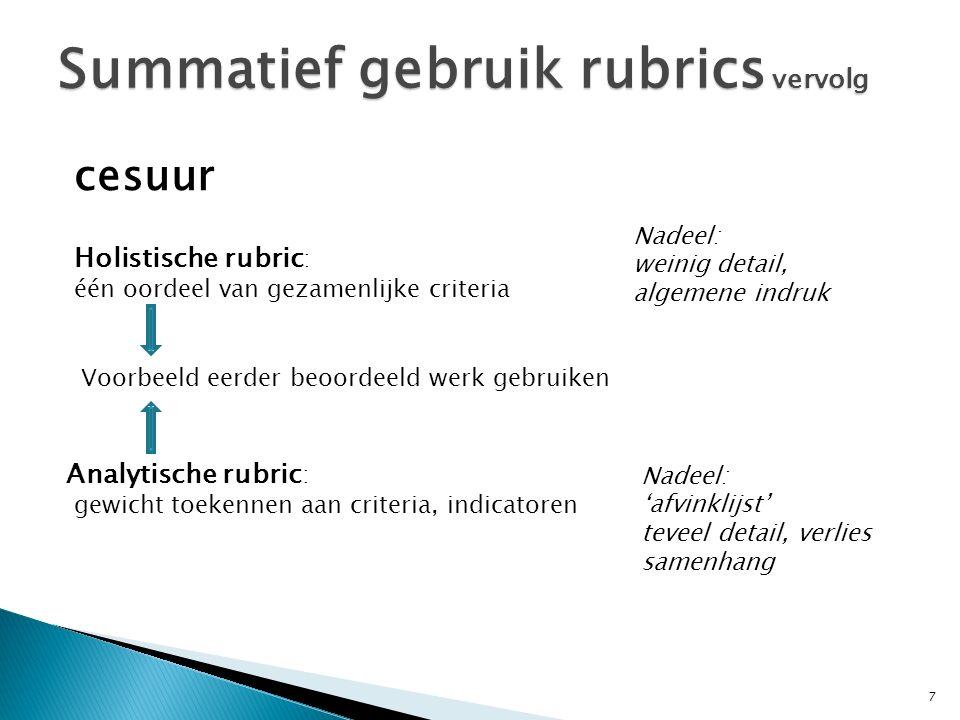Summatief gebruik rubrics vervolg