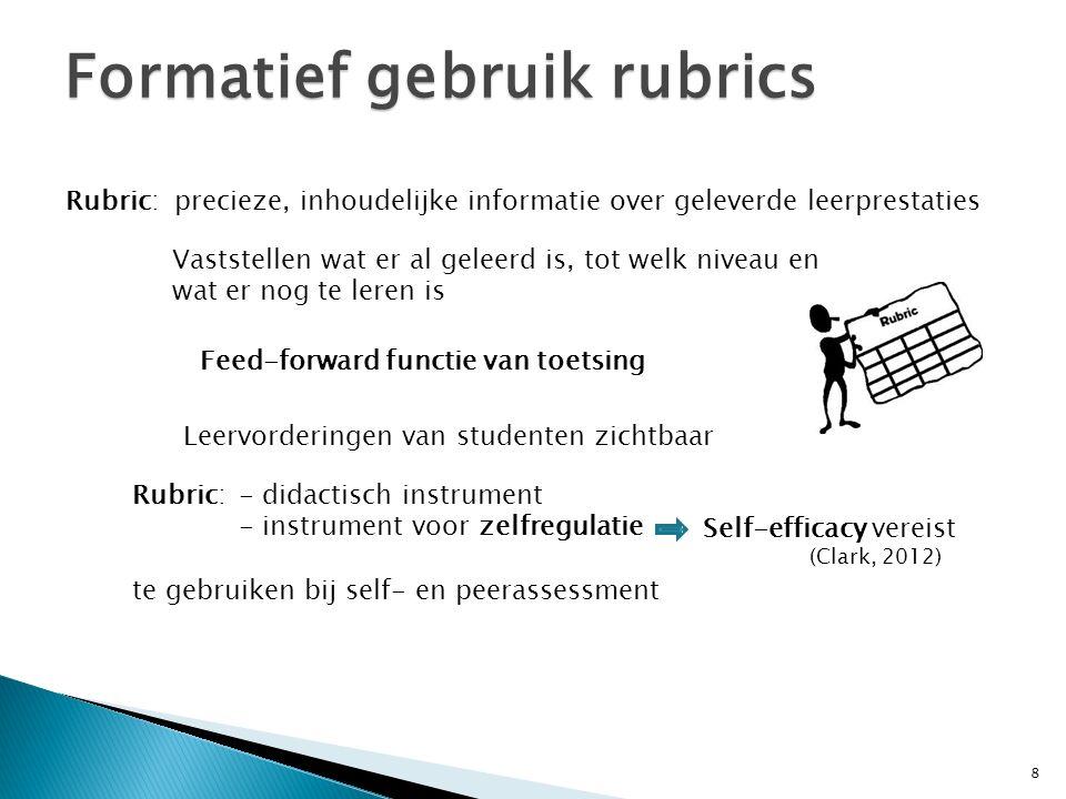 Formatief gebruik rubrics