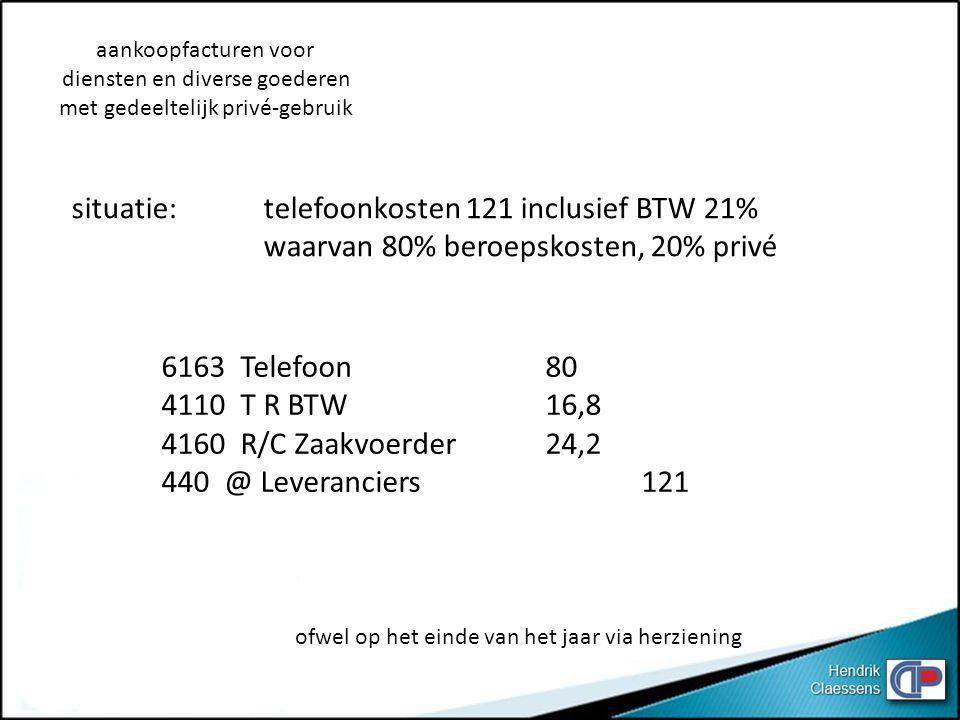 situatie: telefoonkosten 121 inclusief BTW 21%