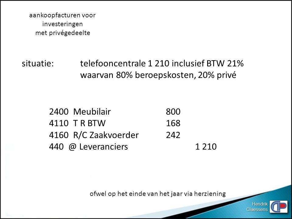 situatie: telefooncentrale 1 210 inclusief BTW 21%