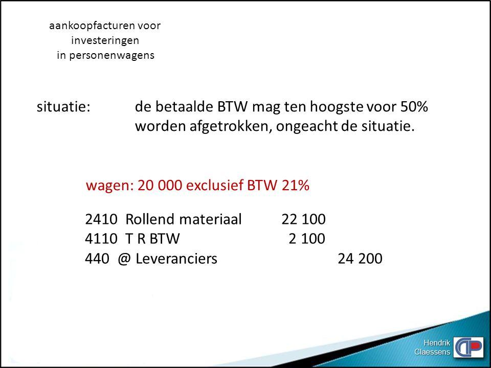 situatie: de betaalde BTW mag ten hoogste voor 50%