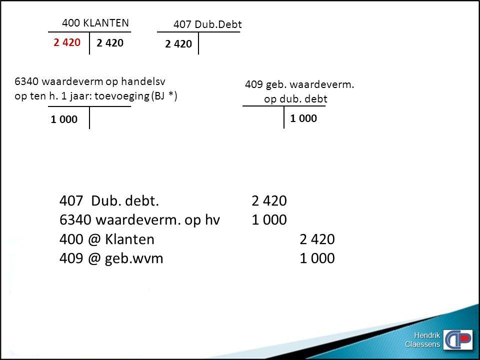 407 Dub. debt. 2 420 6340 waardeverm. op hv 1 000 400 @ Klanten 2 420