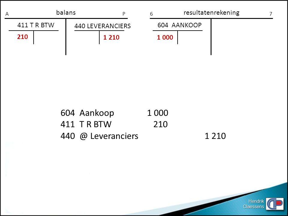 604 Aankoop 1 000 411 T R BTW 210 440 @ Leveranciers 1 210 balans