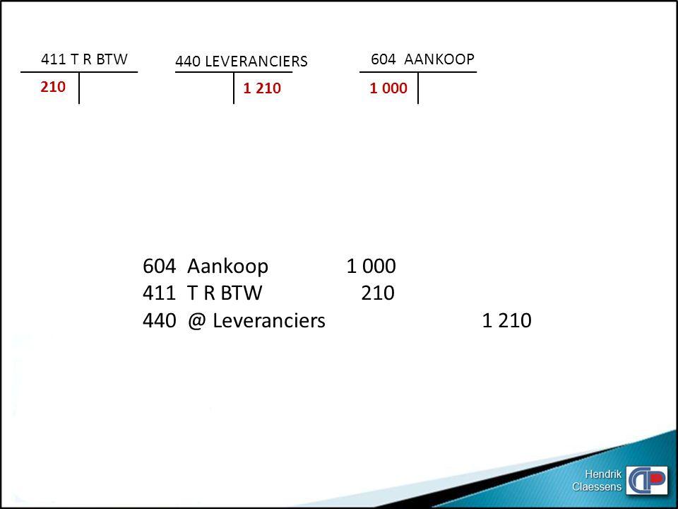 604 Aankoop 1 000 411 T R BTW 210 440 @ Leveranciers 1 210 411 T R BTW