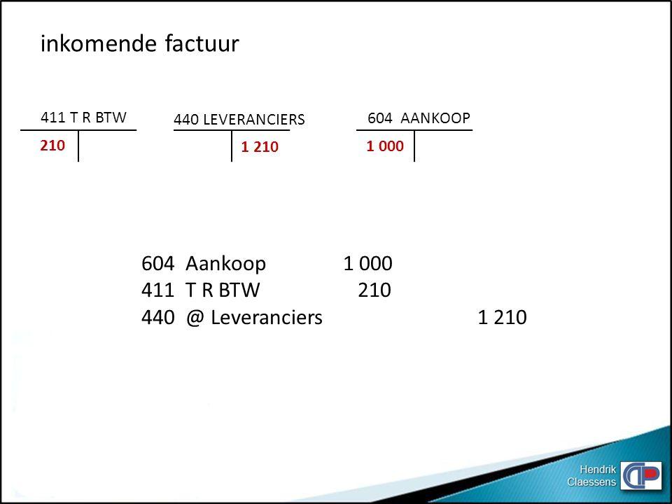 inkomende factuur 604 Aankoop 1 000 411 T R BTW 210