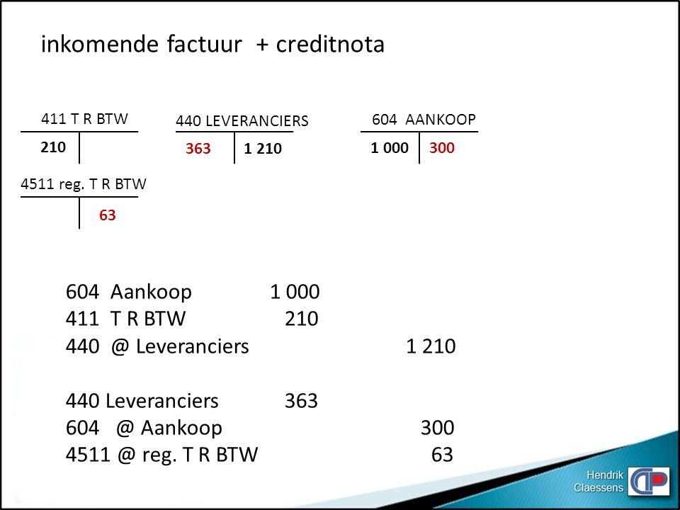 inkomende factuur + creditnota