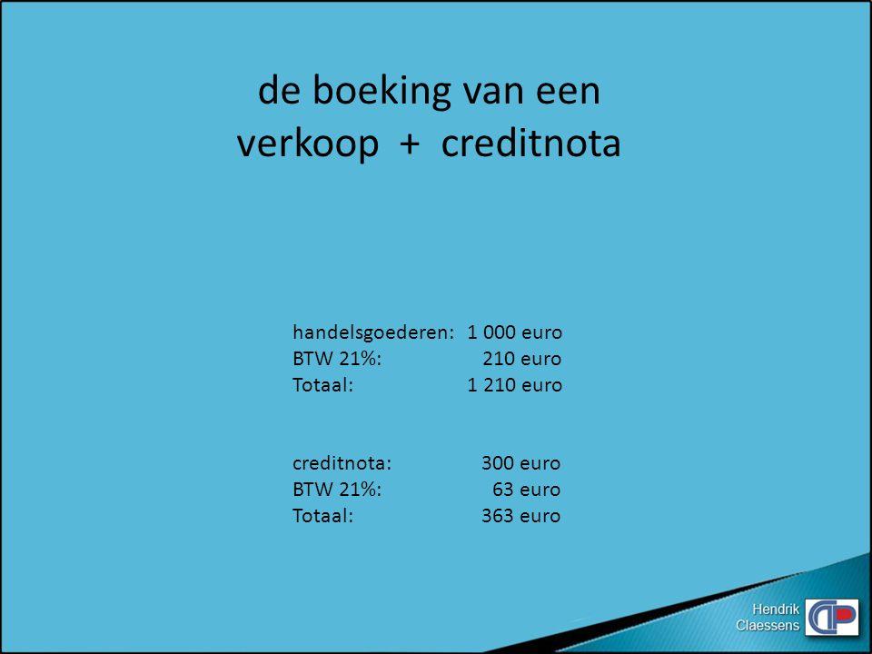 de boeking van een verkoop + creditnota handelsgoederen: 1 000 euro