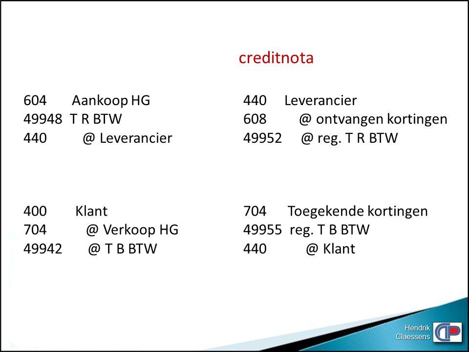 creditnota 604 Aankoop HG 49948 T R BTW 440 @ Leverancier