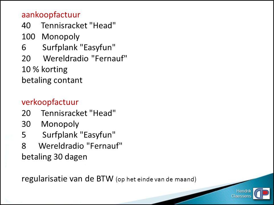 aankoopfactuur 40 Tennisracket Head 100 Monopoly. 6 Surfplank Easyfun 20 Wereldradio Fernauf