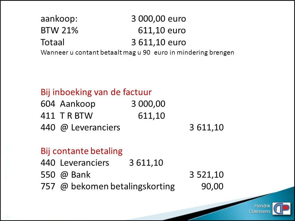 Bij inboeking van de factuur 604 Aankoop 3 000,00 411 T R BTW 611,10