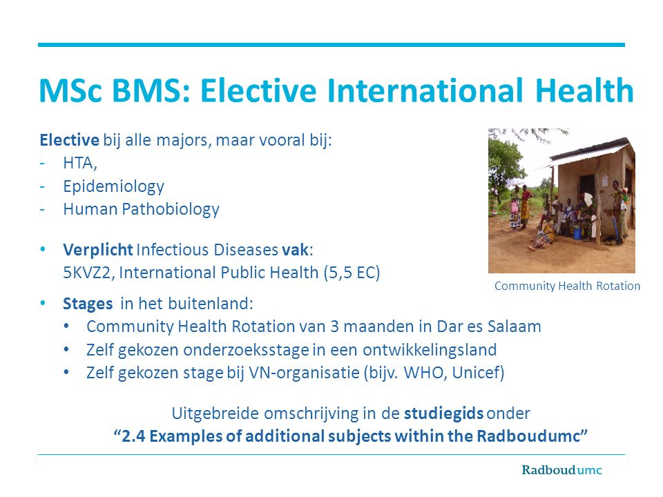 MSc BMS: Elective International Health