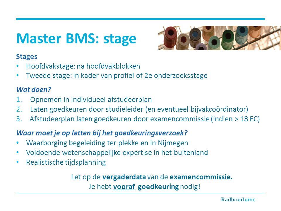 Master BMS: stage Stages Hoofdvakstage: na hoofdvakblokken