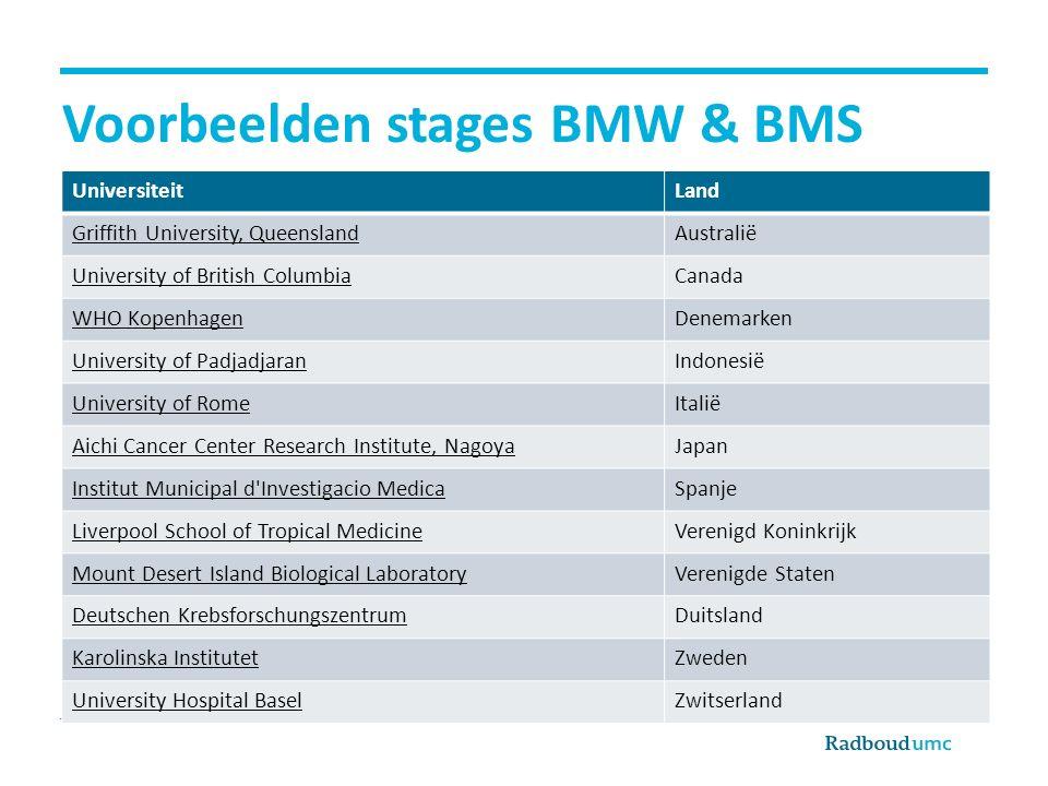 Voorbeelden stages BMW & BMS